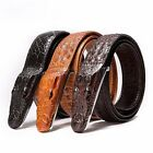Crocodile Custom Pattern Cowhide  Head Buckle Men's Belts Brand New