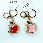 Lovely Apple Package Keychain Rhinestone Crystal Keyring Key Ring Charm Pendant