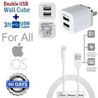 3ft Long 8 Pin USB Power Cord Cable for iPhone 6S,6,5,7 + CUBE Wall Charger (M1)