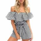 Women Plaid Pattern Off Shoulder Slash Neck Ruffled Draped Strapless Romper
