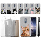 For ZTE Zmax Pro Carry Z981 Cat Slim Sparkling Silver Silicone Case Cover + Pen