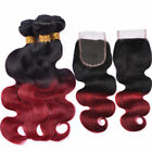 black hair with ombre red - Red Ombre Body Wave Human Hair 3 Bundles with Lace Closure Brazilian Black
