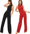 Womens Sleeveless Side Slit Slinky Jumpsuit New Ladies Trousers Pants Stretch