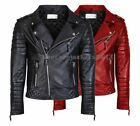 MENS GENUINE LEATHER JACKET SLIM FIT REAL BIKER NEW XS-3XL VINTAGE 49C