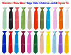 Manzini  Neck Wear Boys' Kids' Children's Solid Pre Tied Ready to Clip On Tie