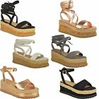Womens Ladies Flat Wedge Platform Espadrille Sandals Lace Tie Up Summer Shoes