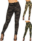Womens Camouflage High Waist Skinny Leg Trousers Ladies Pants Leggings Pocket