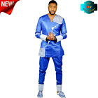 African Men's Fashion Clothing Bazin Riche Men Embroidery Design Top with Pants