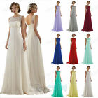 New Long Formal Lace Empire Wedding Evening Ball Gown Prom Bridesmaid Dresses