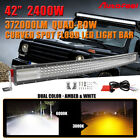 """42"""" INCH 2400W CURVED DUAL COLOR 10D+ CREE LED LIGHT BAR QUAD ROW SUV 40"""" Wiring"""