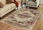 Contemporary MAROON Mirage Collection Area Rug by Benissimo Soft,Durable & Clean