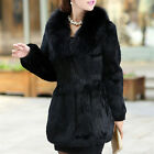New Arrival Elegant Rabbit Fur Coat with Fox Fur Collar Women Warm Jacket
