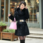 Soft Real Rabbit Fur Coat Jacket with Real Fox Fur Collar Women Warm Outwear
