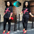 African Fashion Womens Dresses African Design Embroidery Dashiki Top with Pants