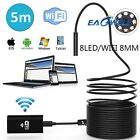 US 5M/16.4FT 8LED Wireless Endoscope WiFi Borescope Inspection Camera For Phone