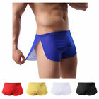 Sexy Mens Sheer See Through Boxer Briefs Underwear Mesh Shorts Trunks Underpants
