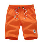 Men's Quick Dry Solid Color Swim Trunk Causal Blank Beach Shorts With Pockets
