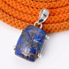 LAPIS COPPER TURQUOISE 925 STERLING SILVER SIMPLE PENDNAT 4.60g DJP4495 L-1.10""