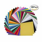 """40 Pack 12""""x12"""" Self Adhesive Vinyl Sheets Permanent for Cricut Silhouette Came"""