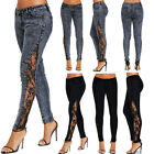 Womens Ladies Jeans Sheer Lace Side Low Waisted Skinny Denim Long Pants Trousers