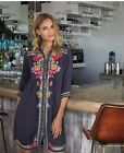Johnny Was Brisa Button Down Embroidered Slip Dress Boho Chic New C31317 GON