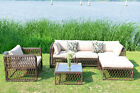 Outdoor Patio Wicker Furniture Rattan Sofa Sectional Cushioned Seat Luxury Large