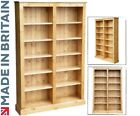Solid Pine Bookcase, 6ft x 4ft Adjustable Display Shelving, Bookshelves
