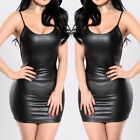 short sexy dress - Women's Sling Bodycon Leather Evening Party Cocktail Club Short Mini Dress Sexy