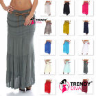 Ladies Womens Cotton Gypsy Lace High waist Summer Elasticated Maxi Skirt 8 - 18