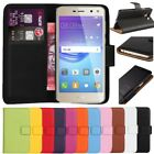 Premium Leather Flip Wallet Case Cover For Huawei Y6 2017 +Free Screen Protector