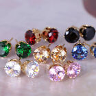 Men's Women's Colorful Small Crystal Round Stud Earrings Gift Present