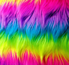 fabric fur - NEON RAINBOW FANTASTICA SHAGGY FAUX FUR 60
