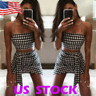 Women 2 Piece Set Dresses Bodycon Skirt Outfit Crop Top Summer Dress Bandge Club
