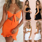 UK Sexy Women Sleeveless Cut Out Bodycon Cocktail Ladies Summer Party Mini Dress