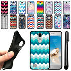 For LG Aristo MS210 LV3 K8 (2017) Fortune Chevron TPU SILICONE Case Cover + Pen