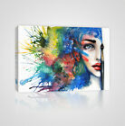 A Girl's Beautiful Half Face with Artist's Brush Framed Canvas Print - YC15