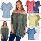 Ladies Top Embroidered Off Shoulder Gypsy Women Italian Lagenlook Crochet Bardot