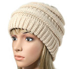Women's Girls Solid Stretchy Knit Hat Messy Bun Ponytail Holey Snow Cap Beanie
