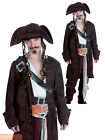 Mens Rum Smuggler Pirate Costume Jack Caribbean Sparrow Fancy Dress Outfit