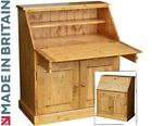 Solid Wood Writing Bureau, 3ft Wide Handcrafted Laptop Desk, Hallway Davenport