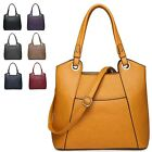 Ladies Designer Fx Leather Panel Shoulder Bag Work Handbag Tote Grab Bag A34951