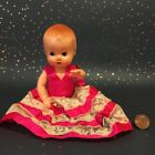 VTG Antique Ideal Baby Plastic Doll Figure Red Hair Handmade Dress Kewpie