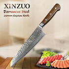"8"" damascus pattern chef knife carbon steel wooden handle kitchen knife as gift"