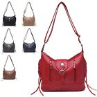 Ladies Stylish Fx Leather Zip Buckle Detail Shoulder Bag Handbag Tote Bag 1732-3