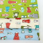 50x160cm Cotton Twill Fabric DIY Material for Bedding Clothing Dog in Dress J8 E