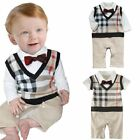 Baby Toddler Boy Wedding Tuxedo Formal Dress Check Suit One Piece Outfit Clothes