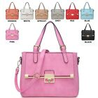 Ladies Stylish Faux Leather Twist Clasp Work Handbag Shoulder Bag Grab Bag 3098A