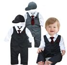 Baby Boy Wedding Christening Tuxedo Suit Striped Romper Outfit Clothes+Hat Set
