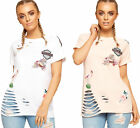Womens Distressed Badge T-Shirt Top Ladies Short Sleeve Ripped Crew Neck New