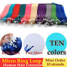 10/100 Strands Rainbow Color 10A Remy Micro Ring Easy Loop Human Hair Extensions